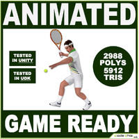 White Tennis Player For Videogames (5912 tris)