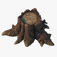 3d model cartoon stump