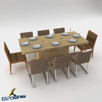 dining table set 3d max