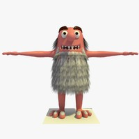 3d model old hairy man cartoon