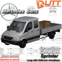 3d mercedes benz sprinter dropside model