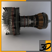 3d pratt whitney turbofan engine model