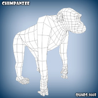 3d obj base mesh chimpanzee