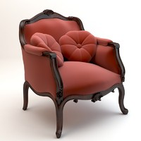 Red baroque armchair with pillows