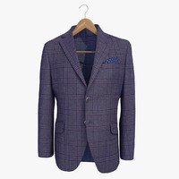 blue male blazer jacket 3d model