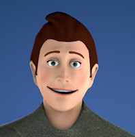 3d rigged cartoon character man model