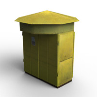 low-poly old kiosk 3d model