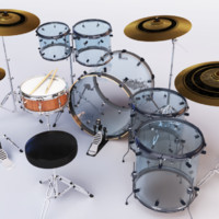 acrylic drumset 3d ma