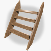stairs wood 3d 3ds