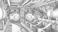 3d model submarine interior