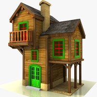 cartoon house toon 3d model