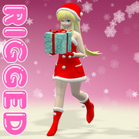 rigged christmas girl 3d max