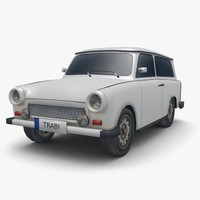 3d low-poly trabant 601 combi model