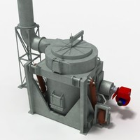 crucible furnace melting metal 3d 3ds