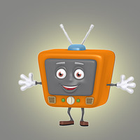 3d cartoon retro tv model