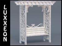 free garden arbor bench 3d model