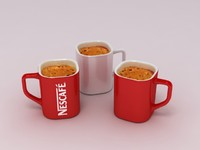 3d nescafé coffee cup