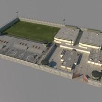 prison exterior scene 3d model
