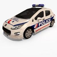 3d model 308 peugeot police