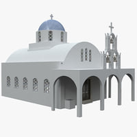 blue domed church santorini 3d c4d