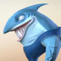 3d cartoon shark character rigged