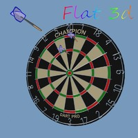 3d pub dartboard darts model