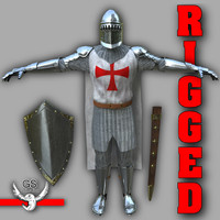 knight medieval character rigged 3d model