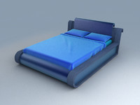 3d model blue bed set