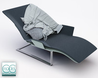3d model of chaise blanket pillows