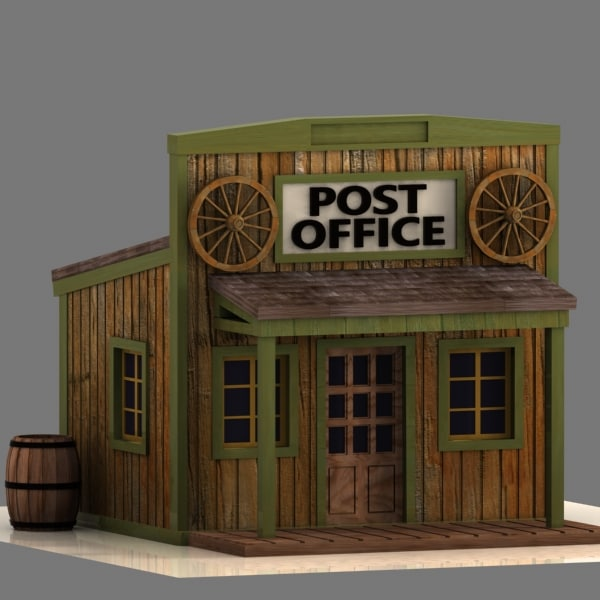 Cartoon Post Office Building 3d model cartoon