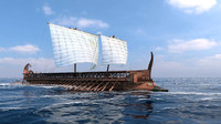 ancient trireme 3d obj