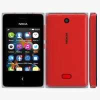 nokia asha 500 red 3d 3ds