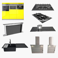 3d kitchen appliance fixtures model