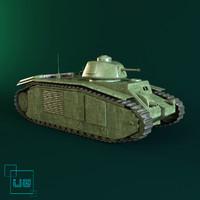french tank b1 3d x