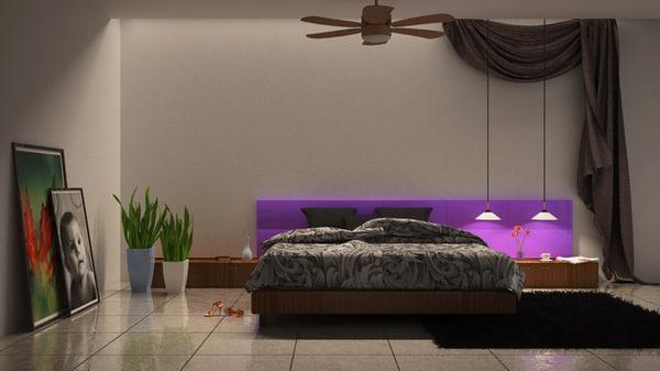Free minimalist bedroom scene 3d model for Scene bedroom designs