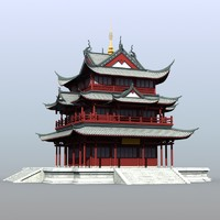 chinese building 3d 3ds