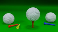 Golf Ball and Tee Set - 3D Models