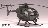 mh-6 little bird helicopters 3d model