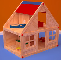 wooden toy house 3d model