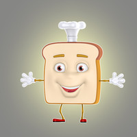 cartoon bread 3d obj