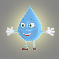 3d model cartoon liquid drop