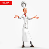 young chef character 3d obj