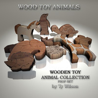 3d obj wood toy animals