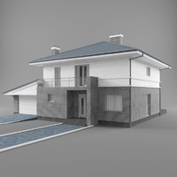 3d model of two-story cottage