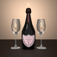 3d champagne glasses model