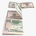 fifty dollar bill 3D models