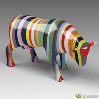 Multi-color Porcelain Cow Sculpture