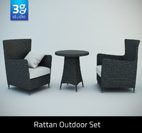rattan outdoor set chairs 3d model