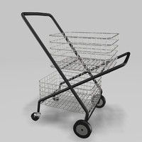 3d model realistic shopping trolley