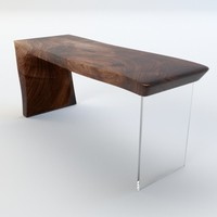 desk walnut slab 3d fbx